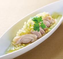 蔥鹽醬汁蒸雞肉