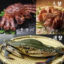 活螃蟹生魚片