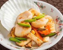 扇貝炒蔬菜