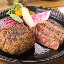 沙朗牛排與漢堡排拼盤