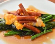 鐵板燒波菜午餐肉