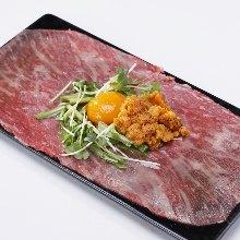 和牛肉與生海膽意式生醃肉片