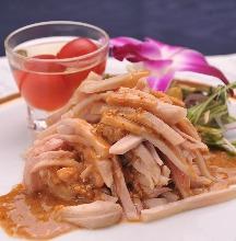 香蔥醬汁澆蒸雞