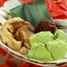 抹茶蕨餅抹茶冰淇淋