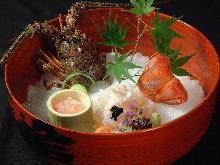 活伊勢龍蝦生魚片