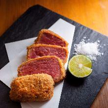 炸三分熟牛肉